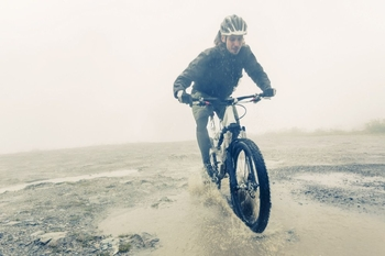 mountain biking in the rain